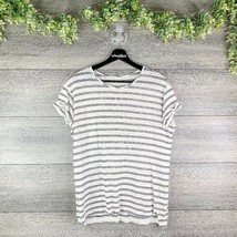 VINCE Off White & Blue Striped Hi Lo Roll Cuff Relaxed Fit Linen Top Tee... - $34.95