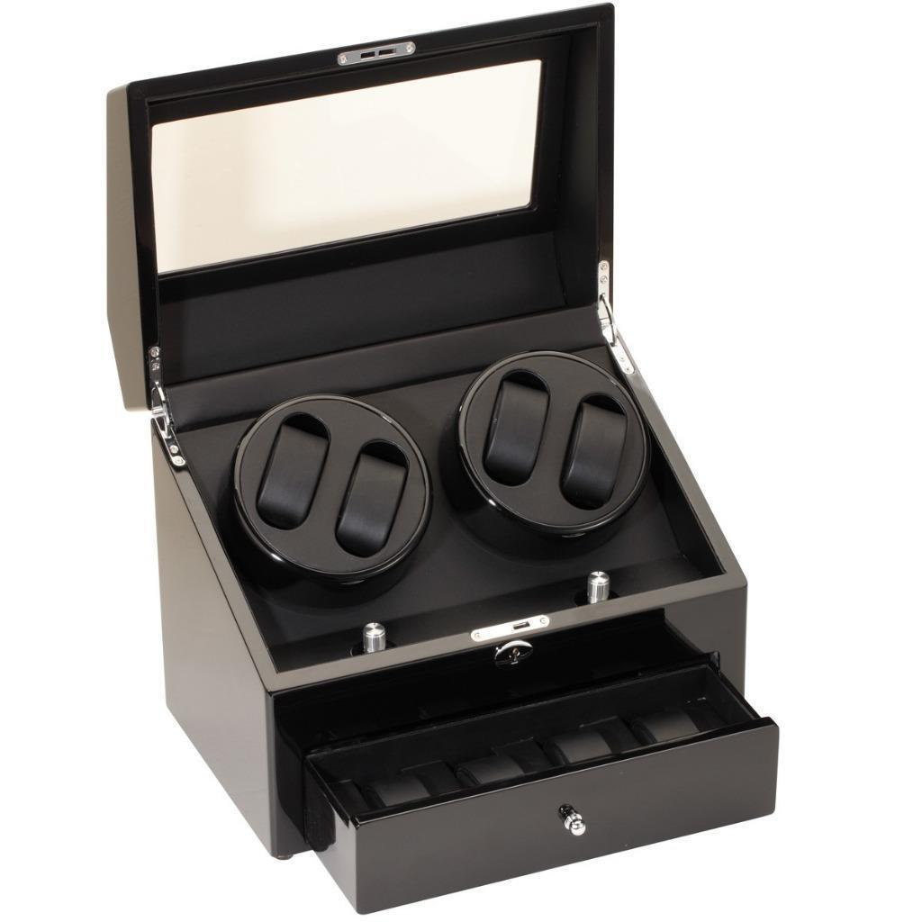Diplomat Quad (4) Watch Winder w/ Storage for 4 Watches - Black Wood 31-425