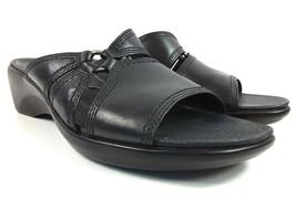 Clarks Women's Black Leather Comfort Slide Slip On Sandals Size 7 Narrow - $26.19