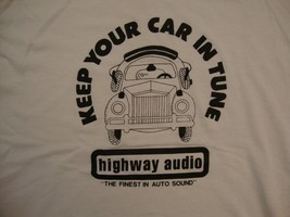 Vintage Highway Audio Auto Sound Car Music Speakers Paper Thin T Shirt L - $19.79