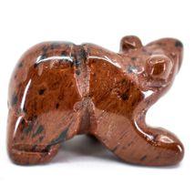 Red Black Obsidian Gemstone Tiny Miniature Bear Figurine Hand Carved China image 4