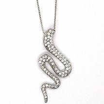 Necklace Silver 925, Chain Venetian, Pendant Pendant Snake, Zircon image 2