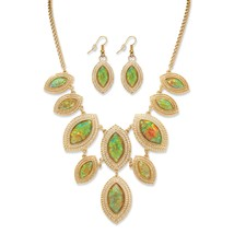 PalmBeach Jewelry Simulated Abalone Necklace and Earring Set in Yellow Gold Tone - $23.99