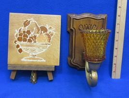 Homco Candle Holder Sconce Gold Tone Glass Tile Trivet Fruit Wood Display Frame - $18.76
