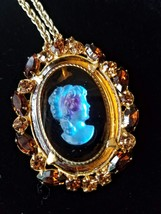 Vintage D&E Juliana Cameo Brooch Pin Pendant Necklace, Rhinestone Brooch Pendant image 6