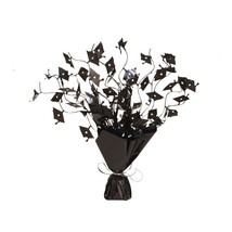 "Mortarboards 8 1/2"" Tall Black Foil Spray Centerpiece, Case of 6 - $36.71"