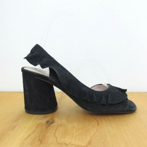 36 / US 5.5 - Silent D Anthropologie Black Suede Ruffle Heeled Sandals 1... - $35.00