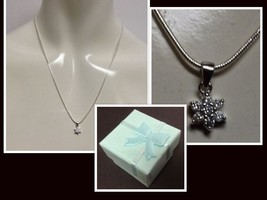 """Sterling Silver Crystal Snowflake Necklace NWT Stamped 925 18"""" Gift Box ... - $9.99"""