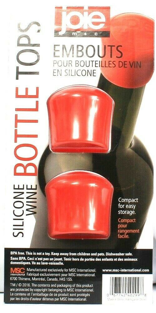 Primary image for Joie MSC Embouts Red 2 Ct Silicone Wine Bottle Tops Seal In Airtight Freshness
