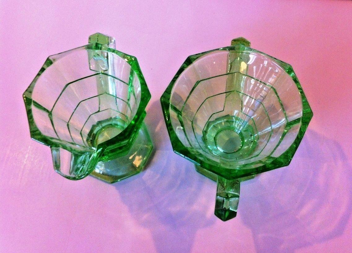 "Antique 1920's Era Indiana Glass Co ""TEA ROOM"" Sugar & Creamer Set, Pattern #600"