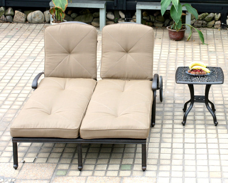 Outdoor Double Chaise Lounge Patio Furniture  Elisabeth Cast Alumnum Bronze