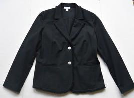 St. John Sport Womens Jacket L Black Cotton Two Button Blazer Frayed Edge - $59.95