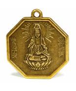 "KWAN YIN FENG SHUI CHARM 1"" Chinese Brass Pendant Bagua Protection Good ... - $6.95"