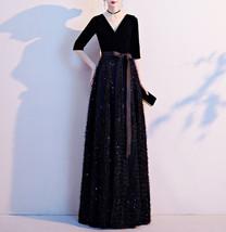 Women Half Sleeve Velvet Maxi Dress High Waist Formal Dress, Black, Plus Size image 10