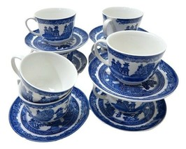 VINTAGE Johnson Brothers BLUE WILLOW 7 Tea Cups and Saucers England - $74.24