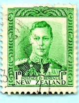 1940 New Zealand Used Postage Stamp - King George VI  Scott # 227A- - $5.99