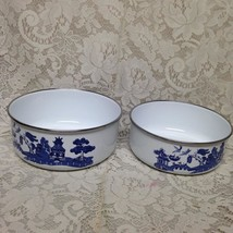 Vintage,  2pc Blue Willow Enamelware Mixing Bowls 7.5in and 7in - $56.95