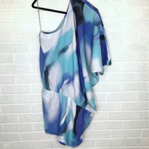New Halston Heritage Size 6 Silk One Shoulder Tie Dye Dress Cocktail Blu... - $102.57