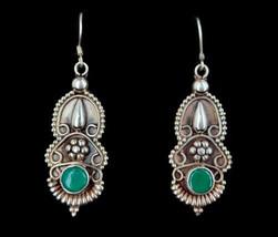 "Vintage Sterling Silver Green Onyx Floral Ornate Drop Dangle Earrings 2.25"" - $71.99"