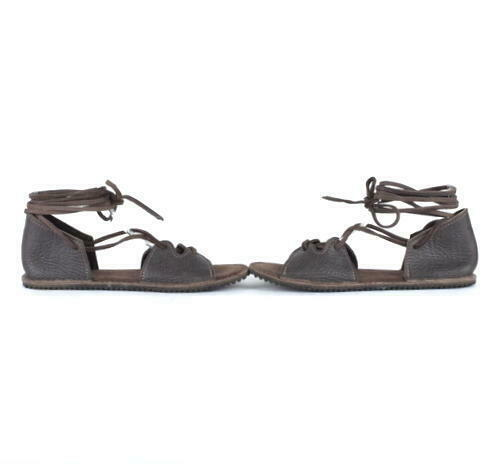 Native Earth Gladiator Sandals Brown Leather Open Toe Ankle Strap Lace Up 9
