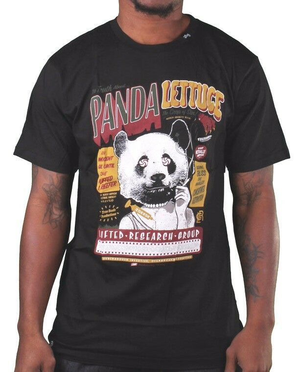 LRG Lifted Research Group Mens White or Black Smoking Panda Lettuce T-Shirt NWT