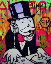 "Alec Monopoly Oil Painting on Canvas graffiti art DJ Philippe Plein 28x36"" - $21.77+"