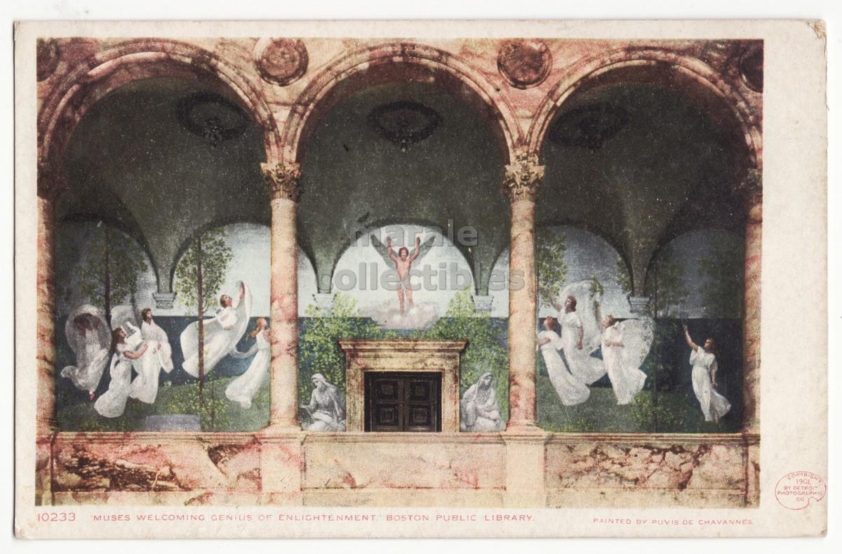 BOSTON Massachusetts, PUBLIC LIBRARY MUSES painting 1901 UDB unused postcard - $3.95