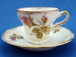 UCAGCO Moss Rose Demitasse Cup and Saucer Pink Floral Gold Trim Mid-Century - $14.44