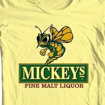 Mickeys Irish Malt Liquor Beer T-shirt bar Ireland cotton graphic yellow tee image 1