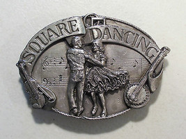 VINTAGE SQUARE DANCING PARNTERS PEWTER TONE BELT BUCKLE 1985 SISKIYOU DA... - $9.75