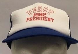 Vtg 1992 Ross Perot President Snapback Mesh Hat Cap Blue White Trucker - $30.84