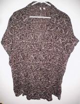 ST. JOHN'S BAY Shirt Plus 3X Slightly Sheer Brown Short Sleeve Crinkle B... - $15.83