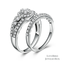 Cluster Halo Split Side Stone 925 Silver Cubic Zirconia Engagement Ring Set - $53.20