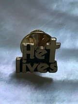 Estate Goldtone HE LIVES w Cross Religious Tie Tac Lapel or Hat Pin – 3/... - $8.59