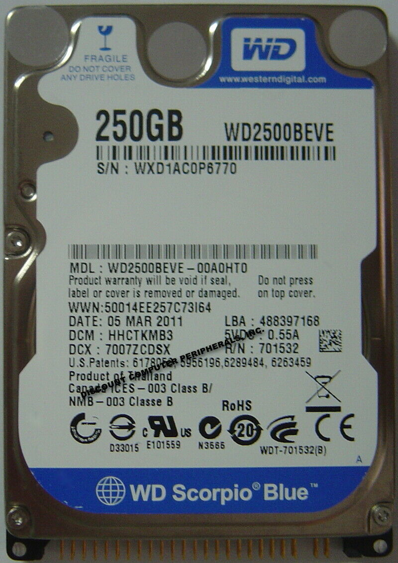 """NEW 250GB IDE 44PIN 2.5"""" 9.5MM Hard Drive WD WD2500BEVE Free USA Shipping"""