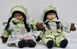 African-American Twin Dolls - Boy & Girl - Hand Sewn Porcelain Heads Col... - $24.99