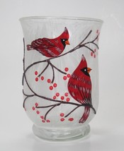 "6"" Frosted Glass Cardinal Birds in Winter Scene Hurricanne Candle Holder - $13.81"