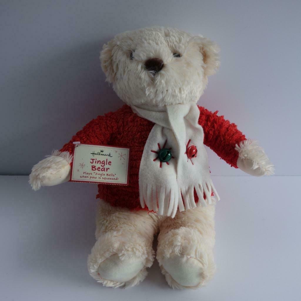 "Hallmark Jingle Bear Soft Plush Bear Plays Jingle Bells 13"" High"