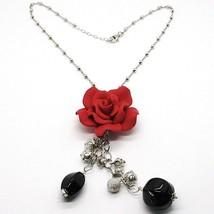 Collar Plata 925 , Ónix Negro, Rosa Rojo, Flor, Cadena Bolas - $123.34