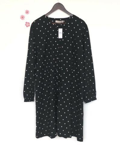 NWT LOFT Black Shift Dress - Plus Size Long Sleeve Polka dot NEW (US $89.50)