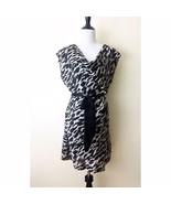 Cowl Neck Dress Black & White Leopard Print Sz 14 H&M Lined Short Sleeve... - $17.41