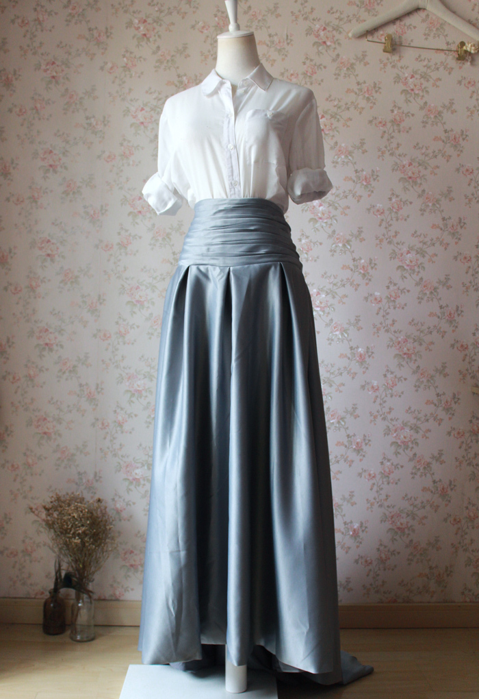 GRAY Taffeta Skirt Women High Waist Taffeta Skirt Maxi Party Prom Skirt Custom