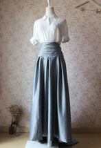 GRAY Taffeta Skirt Women High Waist Taffeta Skirt Maxi Party Prom Skirt Custom image 1