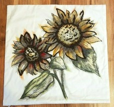Pottery Barn Throw Pillow Cover BOLD SUNFLOWER EMBROIDERED 20x20 NWOT #7 - $49.00