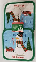 SET 2 Printed Kitchen Pot Holders, CHRISTMAS SNOWMAN & RED TRUCK,LET IT ... - $7.91