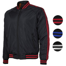 Men's Water Resistant Slim Fit Striped Zip Up Flight Bomber Jacket TONY