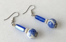 Chinese Hand Painted Blue Flower White Porcelain Round Bead Drop Earring... - $18.90