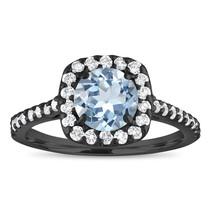 1.43 Carat Aquamarine Engagement Ring, With Diamonds Bridal Ring 14K Bla... - $1,593.75