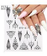 Nail Sticker Water Transfer Slider Black Jewelry Lace Design Nail Art St... - $0.61