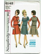 Vintage 1960s Simplicity Sewing Pattern 6142 Junior Petite Dress Jumper ... - $16.16